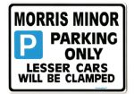 Morris Minor Parking Sign - Metal Faced Gift in 3 sizes